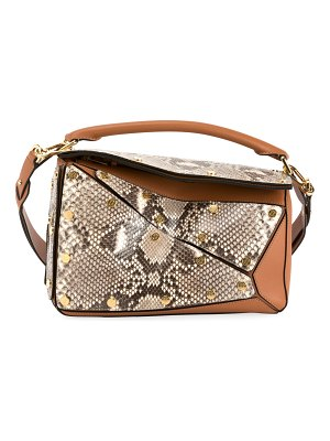 Loewe Puzzle Multi Patch Python Shoulder Bag