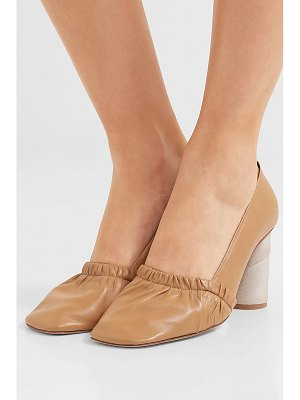 Loewe ruched leather and suede pumps