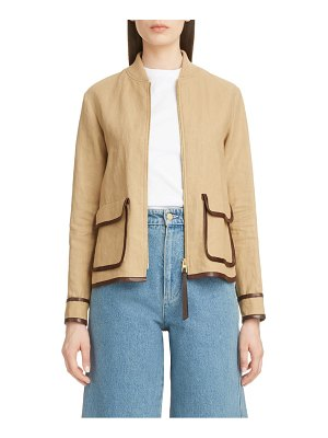 Loewe saharienne leather trim linen & cotton jacket