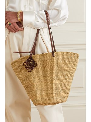 Loewe shell leather-trimmed woven raffia tote