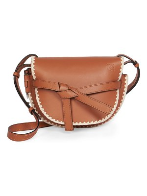 Loewe small gate crochet leather saddle bag