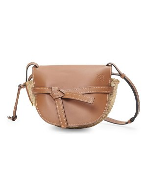 Loewe small gate raffia & leather saddle bag
