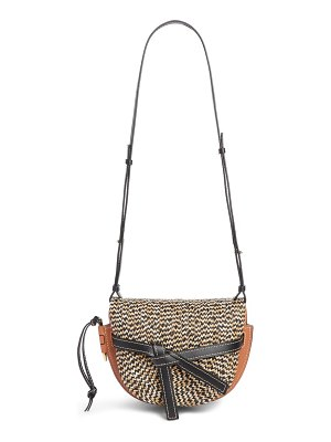 Loewe small gate raffia & leather crossbody bag