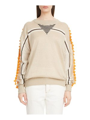 Loewe tassel trim linen & cotton boyfriend sweater