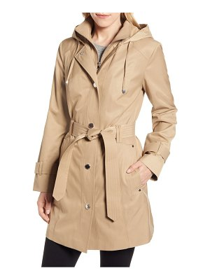London Fog water repellent hooded trench coat with inset bib