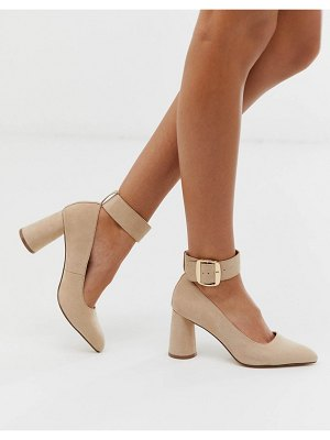 London Rebel circular heeled shoes in beige