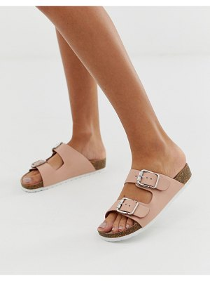 London Rebel double buckle flat sandals