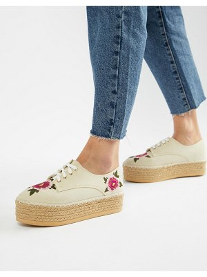 London Rebel Flatform Embroidered Espadrilles