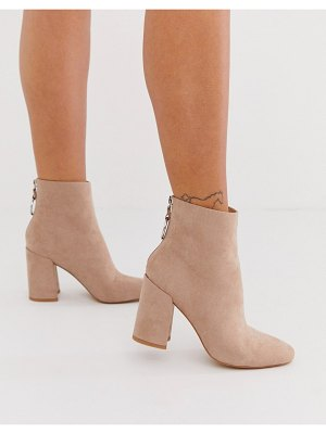 London Rebel high block heel boots in mink