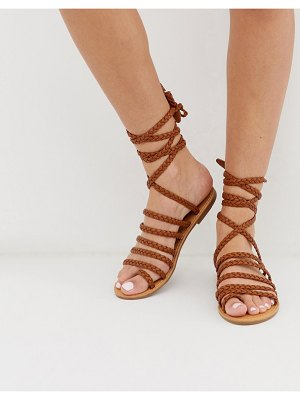 London Rebel plaited toe loop sandals