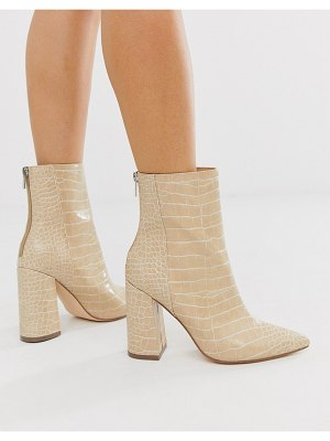London Rebel pointed block heeled boot in natural croc-beige