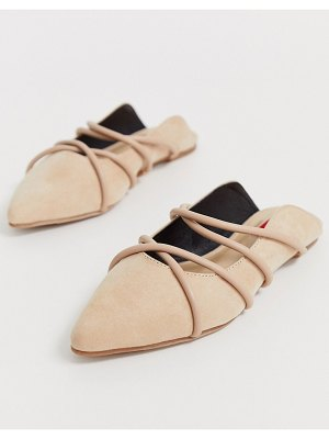 London Rebel pointed strappy mules in beige