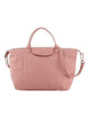 Longchamp Le Pliage Cuir Medium Handbag with Strap