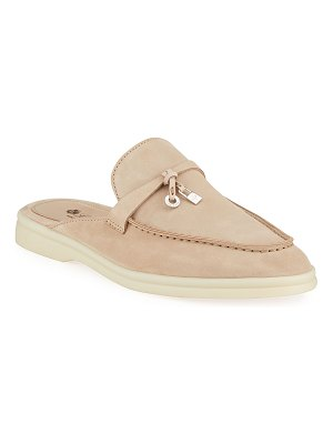 Loro Piana Babouche Charms Walk Suede Mule Loafers