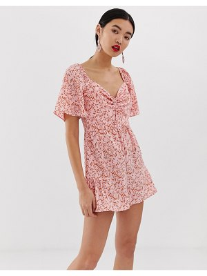 Lost Ink bardot romper with ruffle legs in ditsy
