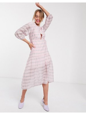 Lost Ink drop waist midi dress in check-pink