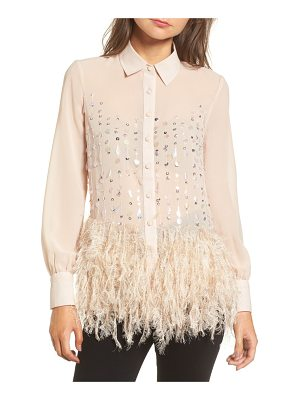 LOST INK Embellished Feather Shirt