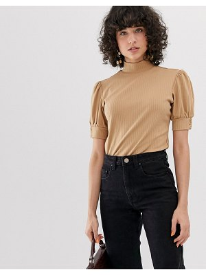 Lost Ink high neck top with puff sleeve in rib