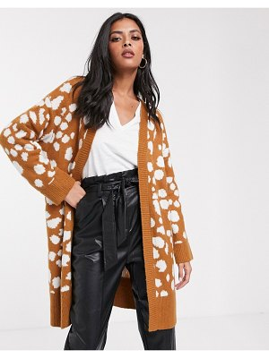 Lost Ink longline cardigan in animal print-brown
