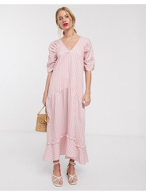 Lost Ink maxi smock dress with tiered skirt in stripe-pink