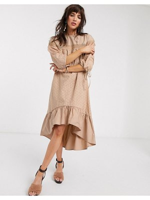 Lost Ink midi smock dress with ladder trim in broderie-brown
