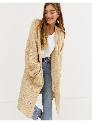 Lost Ink oversized heavyweight knit cardigan-beige