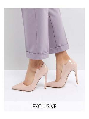Lost Ink patent pumps-beige