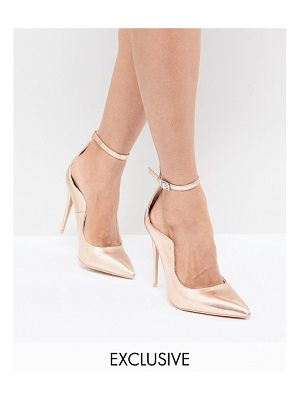 Lost Ink rose gold ankle strap pumps
