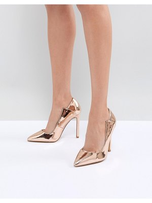 Lost Ink rose gold paris cut out pumps
