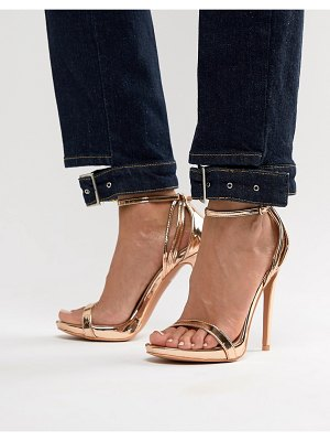 Lost Ink rose gold stiletto barely there sandals