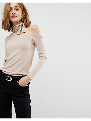 Lost Ink slim sweater with cut out collar and tie neck