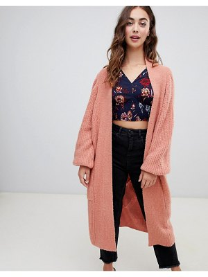 Lost Ink slouchy longline cardigan in cable knit