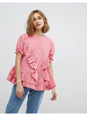 Lost Ink smock top with frill detail