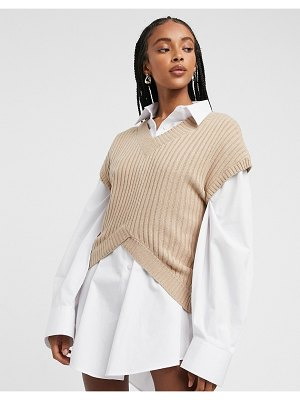 Lost Ink v neck kimono sleeve sweater in wide rib knit-beige