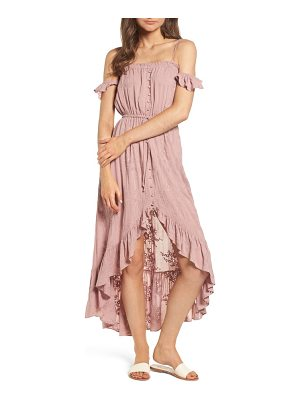 LOST + WANDER Rose Cold Shoulder High/Low Dress