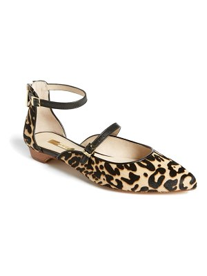 Louise et Cie claire genuine calf hair ankle strap flat