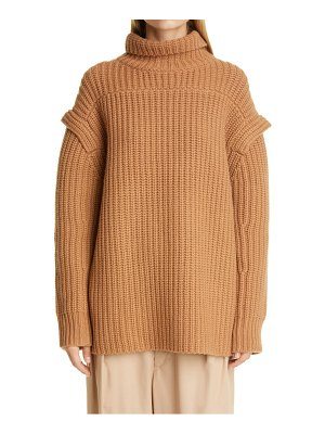 LOULOU STUDIO layered sleeve wool & cashmere turtleneck sweater
