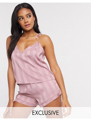 Loungeable stripe jacquard satin cami top in pink