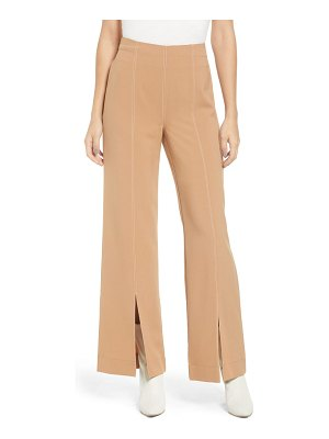 Love, Fire contrast stitch flare trousers