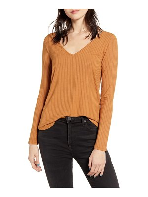 Love, Fire ribbed double v-neck top