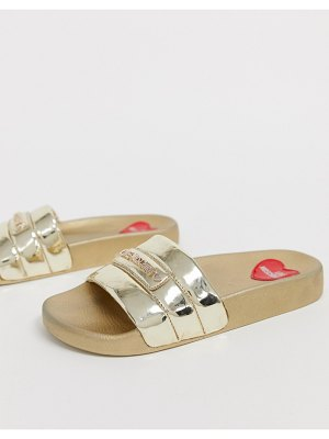 Love Moschino patent pool sliders