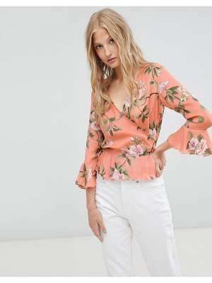 Love & Other Things floral wrap blouse