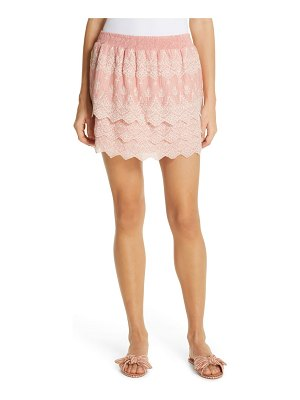 Love Sam tallulah embroidered cotton & silk miniskirt