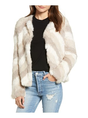 Love Token chevron stripe genuine rabbit fur jacket