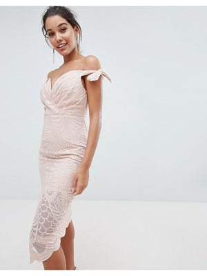 LOVE TRIANGLE Bardot Tie Detail Lace Dress