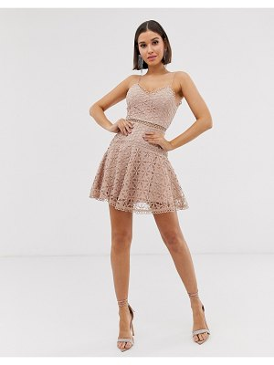 Love Triangle cami skater dress in floral crochet lace in latte-beige
