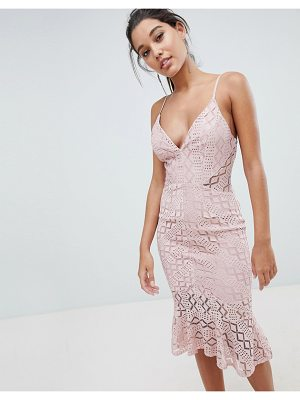 Love Triangle cami strap lace dress with fluted hem