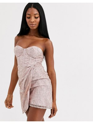 Love Triangle corset detail mini bandeau dress in mink