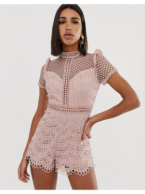 Love Triangle high neck cutwork lace romper in pink