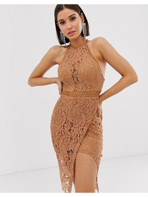 Love Triangle high neck lace dress with wrap skirt in caramel-beige
